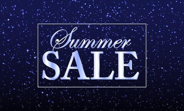 Bannière de vente d'été avec des confettis brillants ou des particules scintillantes