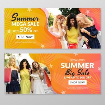 Bannière de vente d'été dégradé avec photo