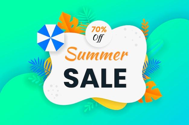 Bannière de vente d'été avec design en papier découpé