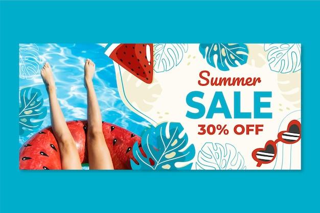 Bannière de vente d'été dessiné à la main avec photo