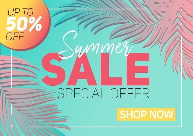 Bannière de vente d'été avec du papier coupé des feuilles tropicales, design floral exotique