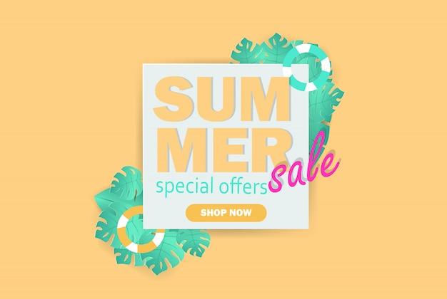 Bannière de vente d'été avec du papier découpé