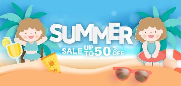 Bannière de vente d'été avec élément d'été en style papier découpé
