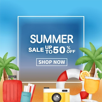 Bannière de vente d'été avec élément d'été.