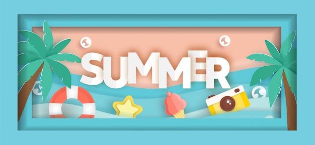 Bannière de vente d'été avec des éléments d'été en style papier découpé