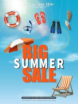 Bannière de vente d'été avec éléments suspendus