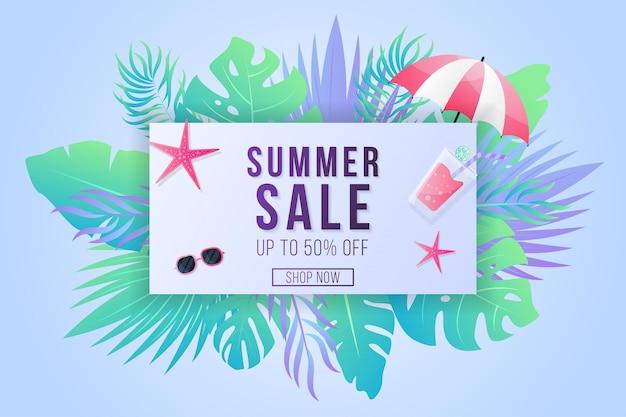 Bannière de vente d'été avec feuille tropicale dégradée