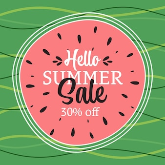 Bannière de vente d'été avec des feuilles tropicales bonjour illustration abstraite d'été
