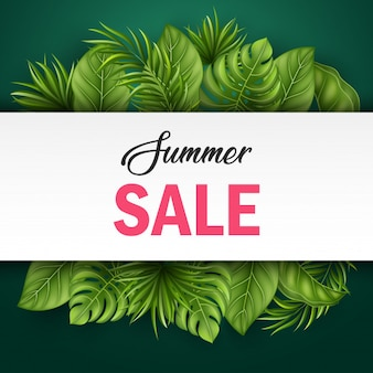 Bannière de vente d'été avec des feuilles tropicales pour la promotion