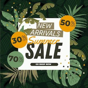 Bannière de vente d'été avec des feuilles
