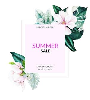 Bannière de vente d'été avec des fleurs et des feuilles de magnolia rose