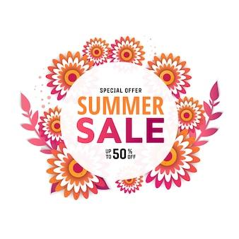 Bannière de vente d'été avec des fleurs pour les achats en ligne