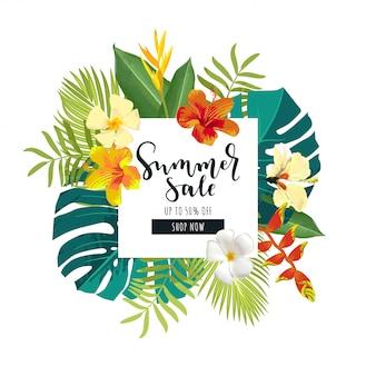Bannière de vente d'été avec des fleurs tropicales