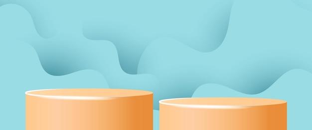 Bannière de vente d'été avec fond abstrait de forme plate-forme cylindrique d'affichage de produit