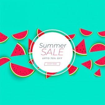 Bannière de vente d'été avec fond de pastèque