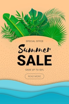 Bannière de vente d'été avec fond de plage tropicale découpée en papier palm laisse vagues vecteur littoral