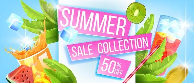 Bannière de vente d'été de fond de remise de saison chaude