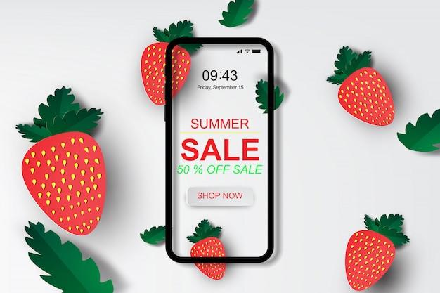 Bannière de vente d'été avec fraise.