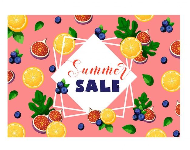 Bannière de vente de l'été avec fruits et baies citron, figues, myrtilles, feuilles, cadre et texte en rose.