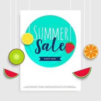 Bannière de vente d'été avec des fruits suspendus