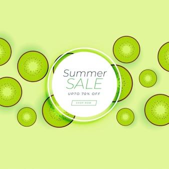 Bannière de vente d'été avec des fruits vert kiwi