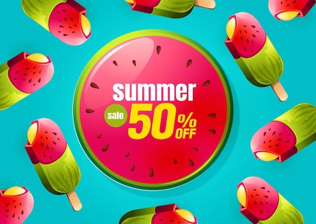 Bannière de vente d'été avec glace à la pastèque,