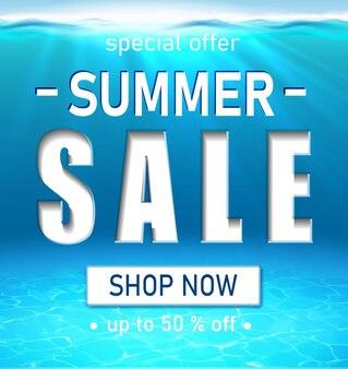 Bannière de vente d'été avec de grandes lettres de typographie blanches 3d océan réaliste sous l'eau