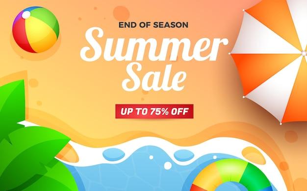 Bannière de vente d'été et illustration de plage de saison