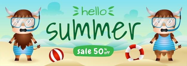 Bannière de vente d'été avec un joli couple de buffles utilisant un costume de plongée en apnée sur la plage