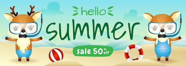 Bannière de vente d'été avec un joli couple de cerfs utilisant un costume de plongée en apnée sur la plage