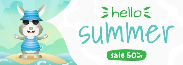 Bannière de vente d'été avec un lapin mignon utilisant un costume d'été