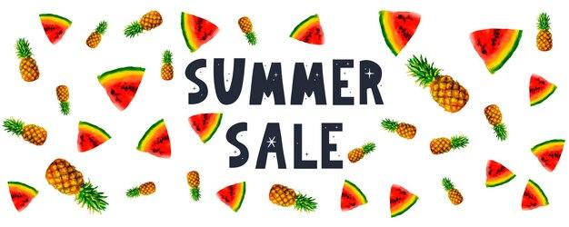 Bannière de vente d'été avec lettre d'ananas de pastèque de fruits