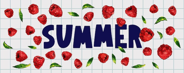 Bannière de vente d'été avec lettre de baies de framboise de fruits