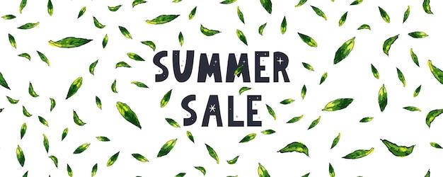 Bannière de vente d'été avec lettre de feuilles