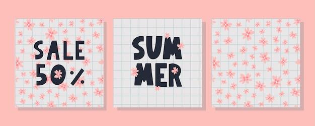 Bannière de vente d'été avec lettre de fleurs