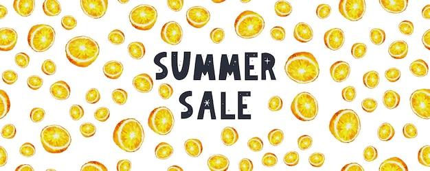 Bannière de vente d'été avec lettre orange de fruits