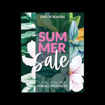 Bannière de vente d'été avec magnolia rose et monstera
