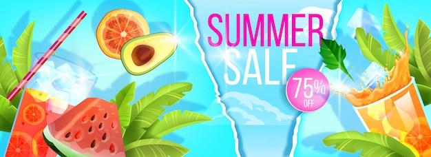 Bannière de vente d'été, modèle de remise de saison chaude, fruits exotiques, verre de boisson froide, paille