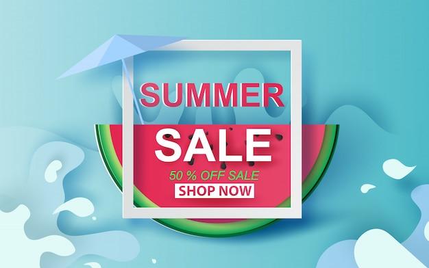 Bannière de vente d'été avec la pastèque.