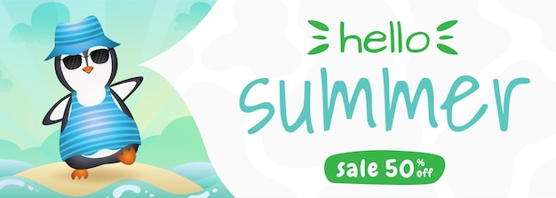 Bannière de vente d'été avec un pingouin mignon utilisant un costume d'été