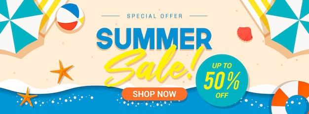 Bannière de vente d'été sur la plage de la mer