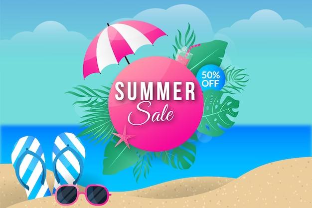 Bannière de vente d'été sur la plage na mer