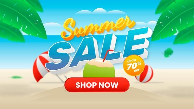 Bannière de vente d'été avec plage, noix de coco, boisson, ballon et parapluie
