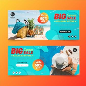 Bannière de vente d'été plat avec photo