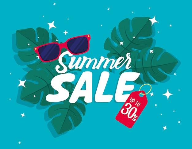 Bannière de vente d'été, rabais de saison avec lunettes de soleil, feuilles, invitation pour faire du shopping avec vente d'été jusqu'à trente pour cent, carte d'offre spéciale