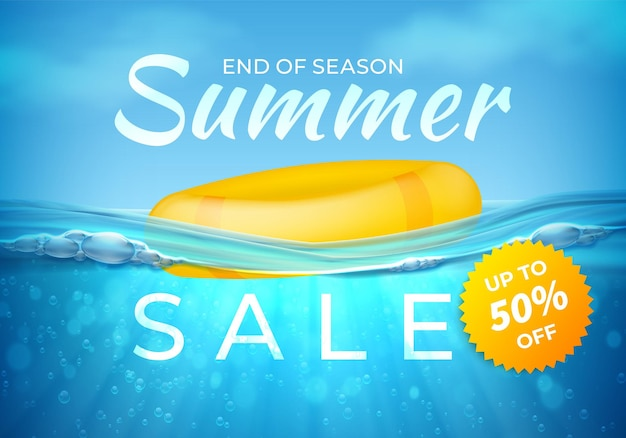 Bannière de vente d'été réaliste. bannière sous-marine de fin de saison