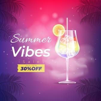 Bannière de vente d'été réaliste