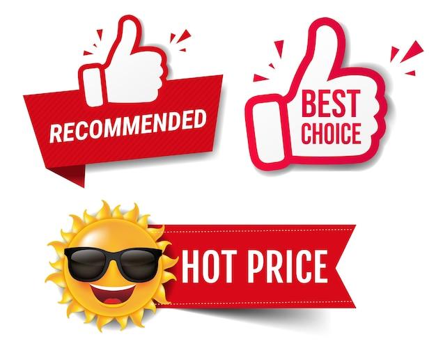 Bannière de vente d'été recommandée avec les pouces vers le haut fond blanc avec filet de dégradé, illustration vectorielle