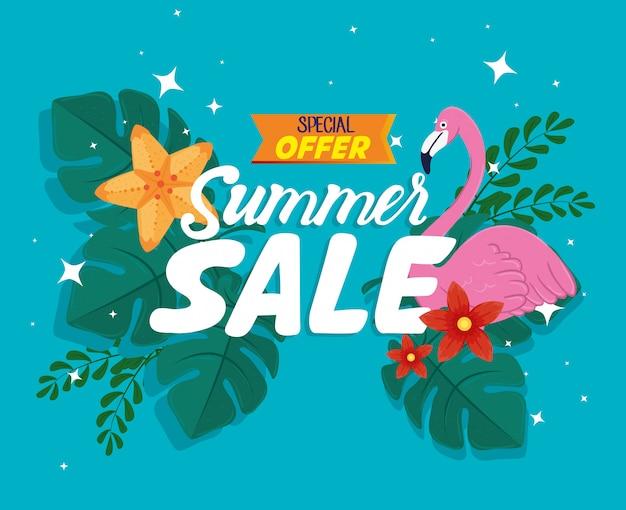 Bannière de vente d'été, réduction de saison avec flamant rose, feuilles et fleurs tropicales, invitation pour faire du shopping avec étiquette d'offre spéciale de vente d'été, carte d'offre spéciale