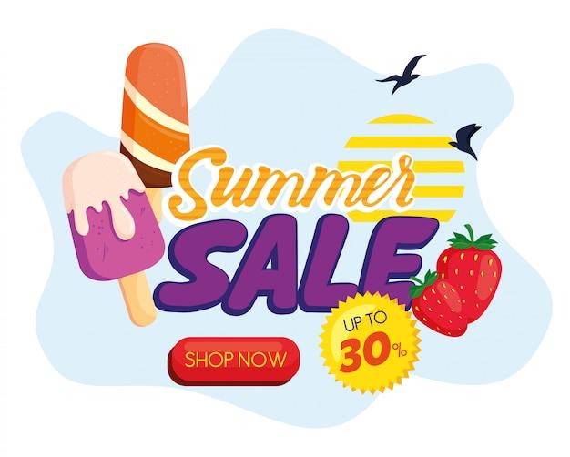 Bannière de vente d'été, réduction de saison avec glaces, fraises et oiseaux qui volent, invitation pour faire du shopping avec vente d'été, carte d'offre spéciale